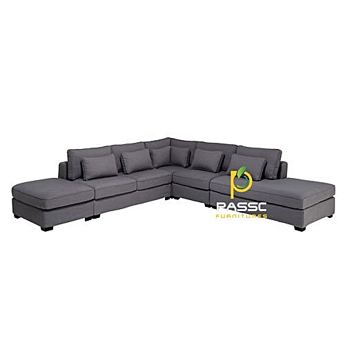 Omega Executive Sectional Couch -Grey Order And Get A Free Ottoman. Delivery Only To Lagos State