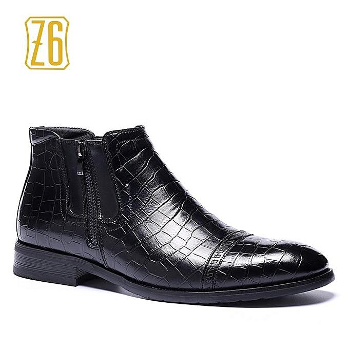 Les Hommes De Grande Taille Z6 Bottes Motif Crocodile Noir VN29Cmd