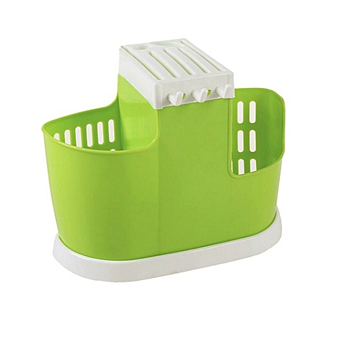 Kitchen Draining Water Chopsticks Spoon Storage Rack Cutlery Organizer Drainer Green