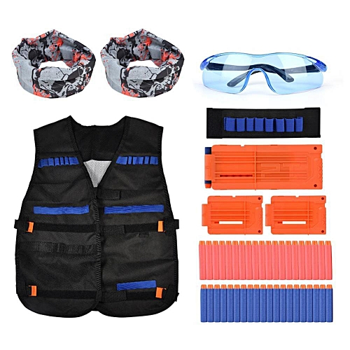 Kids Foam Dart Bullet Clips Vest With Glasses Wrist Band Hoods Funny Outdoor Game Toy Set