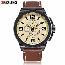 97f334600a3 Curren Men  039 s Watches Leather Strap Analog Quartz Mens Watch Waterproof  Sport Clock