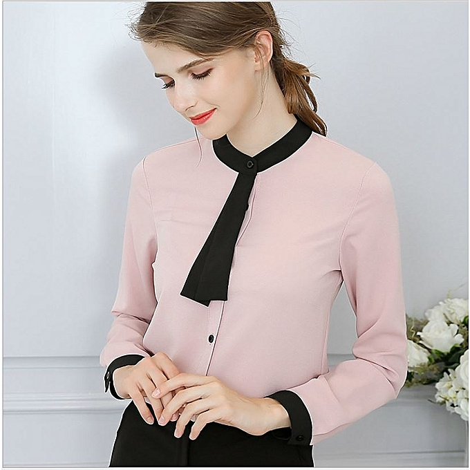 8004cb42f1a Fashion Women Office Formal Plain Sexy Long Sleeve Chiffon Shirt -  Pink Black