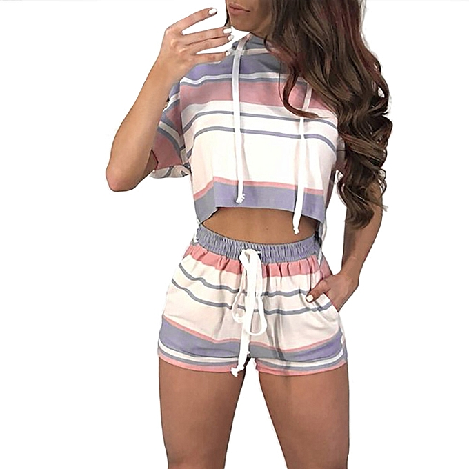 8b850e437acfd New Women Short Sleeve Striped Crop Tops Blouse+Cord Shorts Outfit Set  Sports Suit