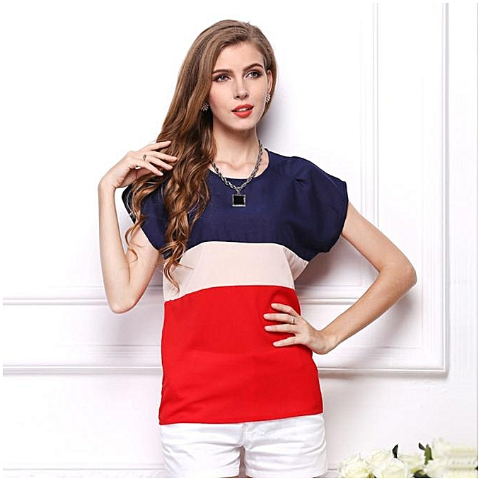 e3ebb6511482 Xingbiaocao Women Summer Stripe Chiffon T-Shirt Short Sleeve Casual Tops  Blouse -Red)