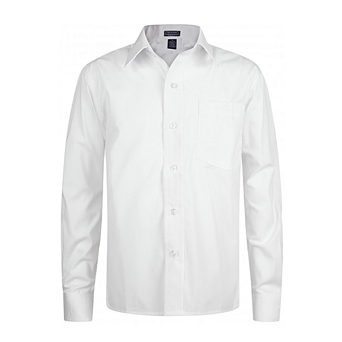 Marcell Hughes Boys Long Sleeve Plain Shirt - White  c11c81187be