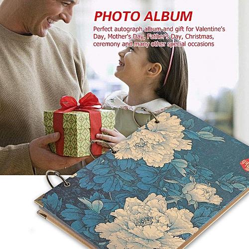 10'' DIY Vintage Photo Album Picture Holder Storage Paste Type Peony Flower Pattern