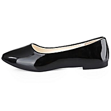 Ladies Patent Corporate And Casual Flat Shoes- Black