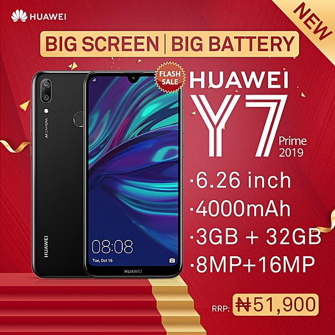 Y7 Prime (2019) 6 26-Inch HD+ Dewdrop (3GB, 32GB ROM) Android 8 1 Oreo  (13MP + 2MP) + 16MP Dual SIM 4G 4000mAh Smartphone - Midnight Black