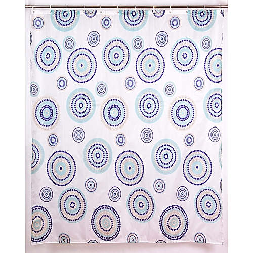 Shower Curtain With Hooks,180x180cm,Print Polyester Fabric,Waterproof,Circle