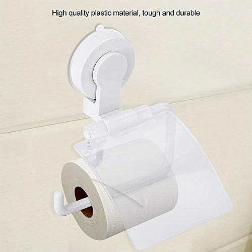 Waterproof Plastic Toilet Paper Holder Suction Cup Universal Bathroom Roll Paper Storage Rack