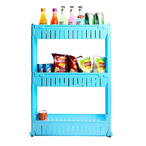 Slide Out Storage Tower Folding 3 Tier Rolling Castor Kitchen Trolley Spice Rack Blue