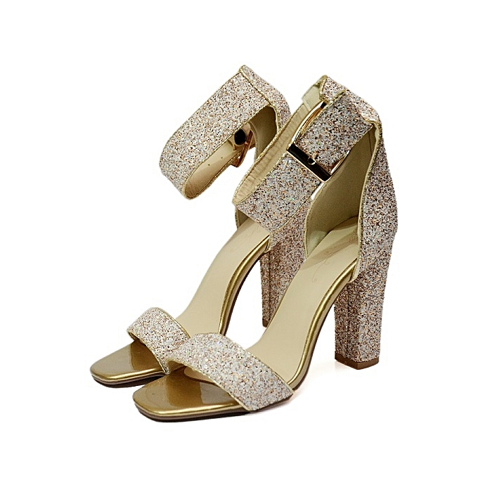 ac3dabdc043 Fashion Ladies Stylish Silver Gold Stone Block Heeled Sandals ...