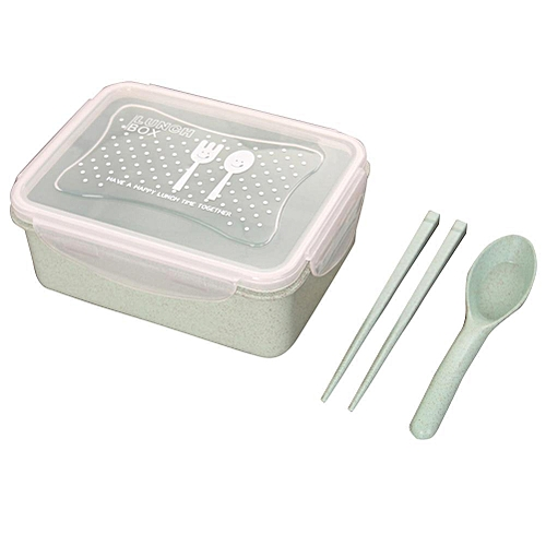 1Set Of Healthy Wheat Straw Lunch Box Portable Leakproof Food Storage Container(Green)