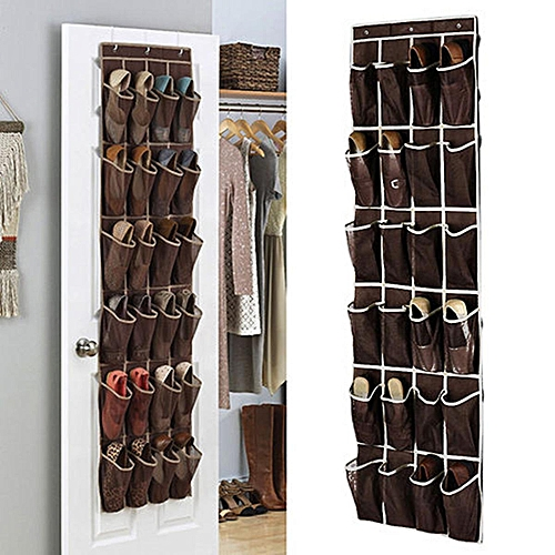 24 Pockets Space Door Hanging Shoes Organizer Mesh Storage Rack Closet Holder