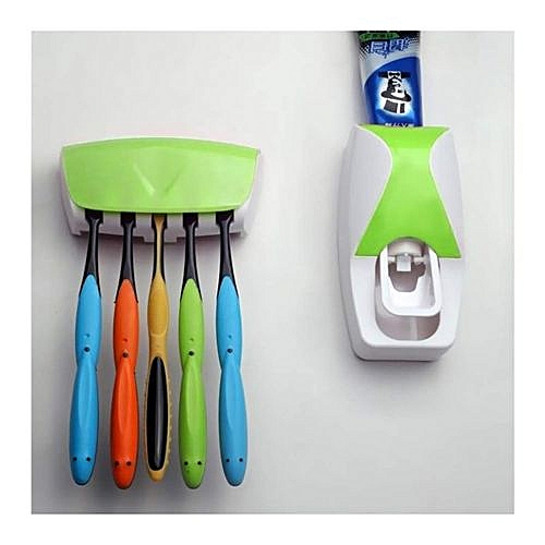ToothPaste Dispenser And ToothBrush Holder - Green