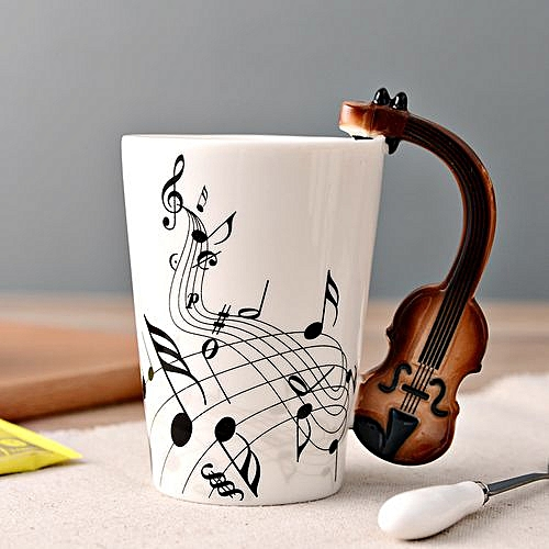 Ceramic Coffee Mug With Musical Instruments Handle -