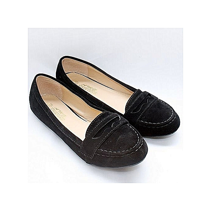 cccaec1f400 Ameigao Sweet Ladies Flat Loafers Shoe- Suede Black