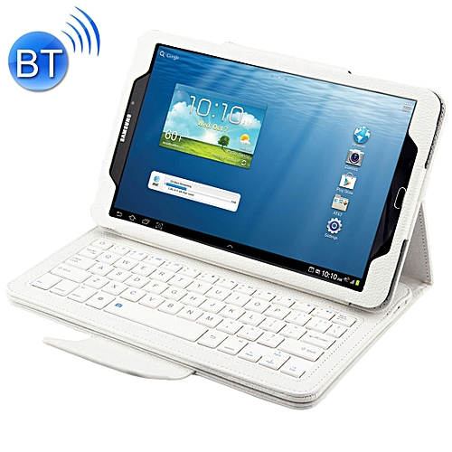 2 In 1 For Samsung Galaxy Tab A 10.1 (2016) T580 / T585 Separable Litchi Texture Horizontal Flip Leather Case + Bluetooth Keyboard With Holder(white)