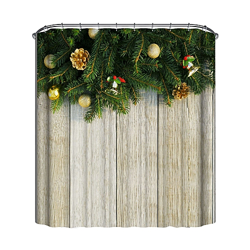 Dtrestocy Christmas Waterproof Polyester Bathroom Shower Curtain Decor With Hooks New C