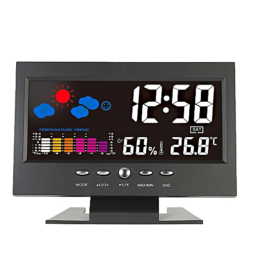 Loskii DC 000 Digital Thermometer Hygrometer Weather Station Alarm Clock Colorful LCD Calendar