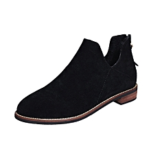 57a3f3ce7b3d41 Xingbiaocao Women Buckle Ladies Faux Zip Solid Warm Boots Ankle Boots  Martin Shoes -Black