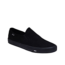 All Black Suede Slip On Sneaker-Black