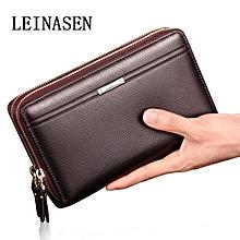 611aeb2d76c UJ Men Clutch Bag Long Purse Leather Wallet Lichee Handbag Double Zippers -brown