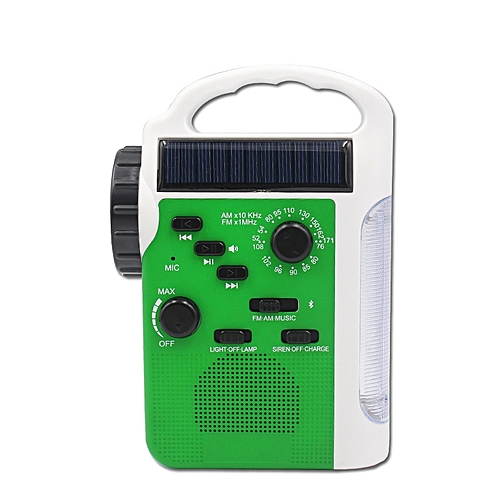 Emergency Radio With Solar And Crank (Green)