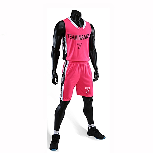 Eufy Best Sale Customized Casual Men's Basketball Team Sport Jersey Uniform-Pink(3035)