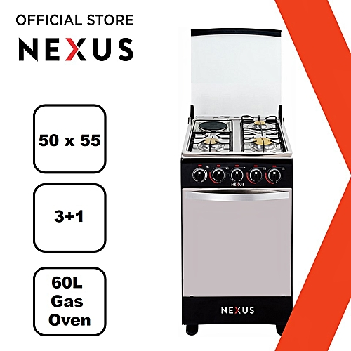 Gas Cooker Black - GCCR-NX-5055B(3+1)