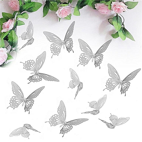 10pcs 3D Stainless Butterfly Wall Stickers Silver Mirror Decals Mural Home Decor