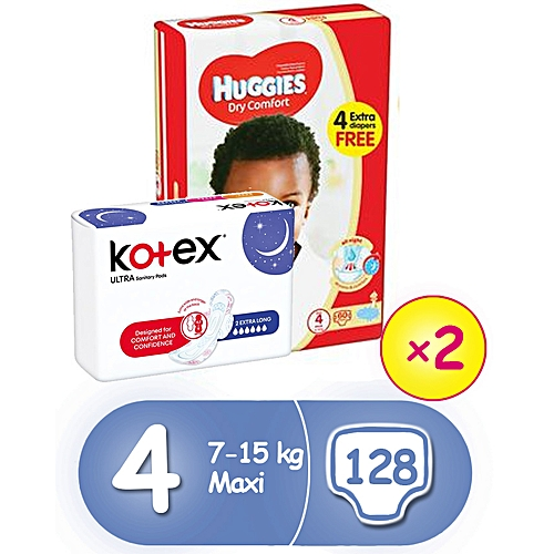 Dry Comfort Diapers Size 4(2x60) + 3 Free Kotex Pads