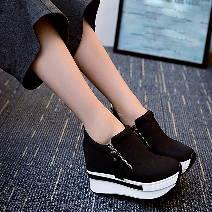 b3ce0c306641 Women s Wedges Boots Platform Korean Style Shoes Slip On Ankle Boots Casual  Shoes