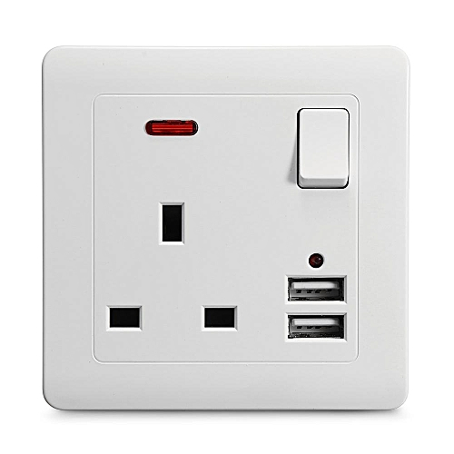 Universal Wall Power Charging Socket Adapter Charger +13A Dual USB Charging Port