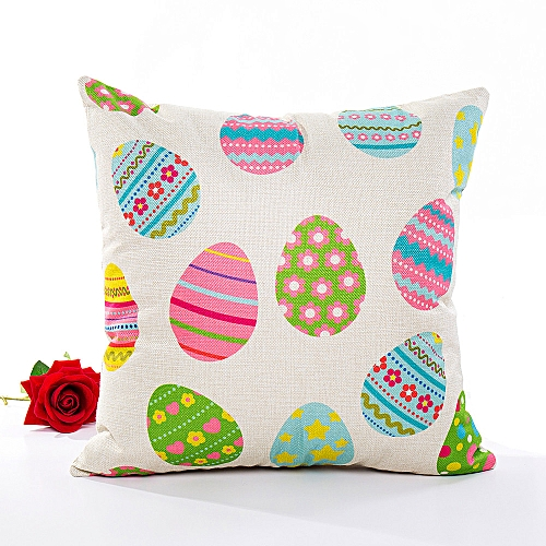 Fashion Happy Easter Pillow Cases Linen Sofa Cushion Cover Home Decor Pillow Case