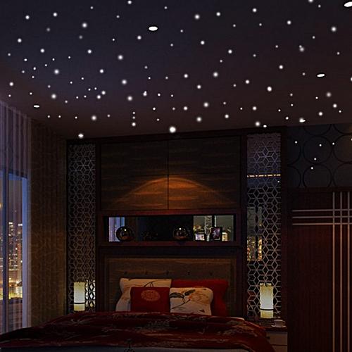 Householding Supplies Glow In The Dark Star Wall Stickers 407Pcs Round Dot Luminous Kids Room Decor-Green