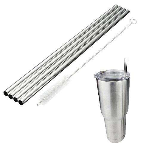 4 Pcs Stainless Steel Straight Straws For Yeti 30oz Tumbler + Cleaning Brush