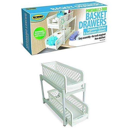 Portable (2) Tier Basket Drawers For Kitchen, Office