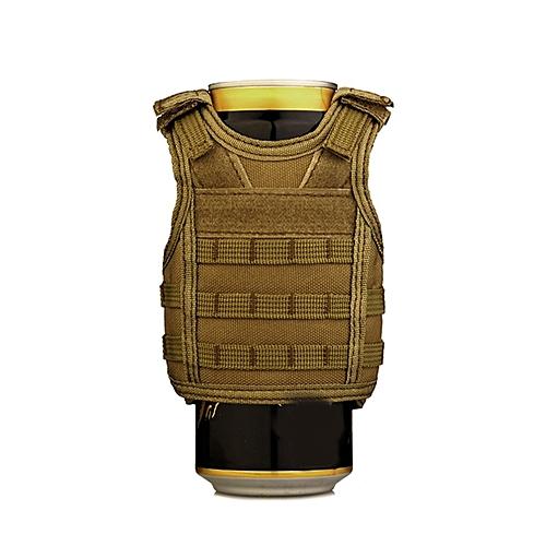 UJ Molle Mini Miniature Vests Beverage Cooler Cover Adjustable Shoulder Straps-brown