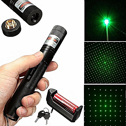 532nm 5mw Green Laser Pointer Pen Beam Adjustable + Light Star Cap+18650 Battery