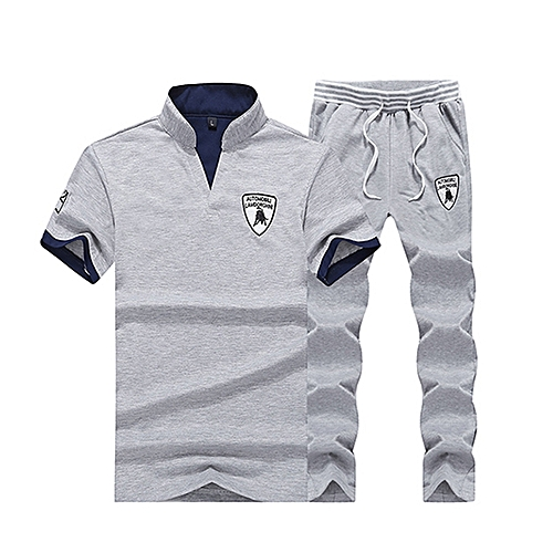2in1 Men's Fashion Sports Suit T-shirt + Trousers -Grey