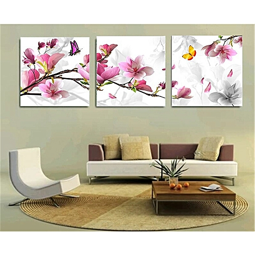 ?No Frame) 3pcs Flower Oil Painting Printed On Canvas Home Decorative Art Picture 30x30cm