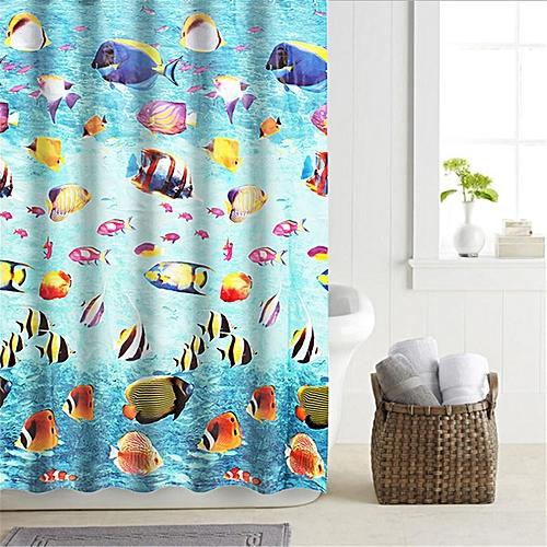 4PCS EVA Elegant Shower Curtain 12 Ring Hooks Waterproof Mildew Resistant Bathroom