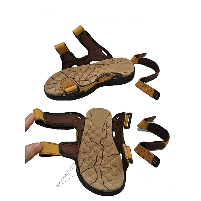 c9dc058204a ... Men Sandals Slippers Genuine Leather Cowhide Male Summer Shoes Outdoor  Casual Suede Leather Sandals Green