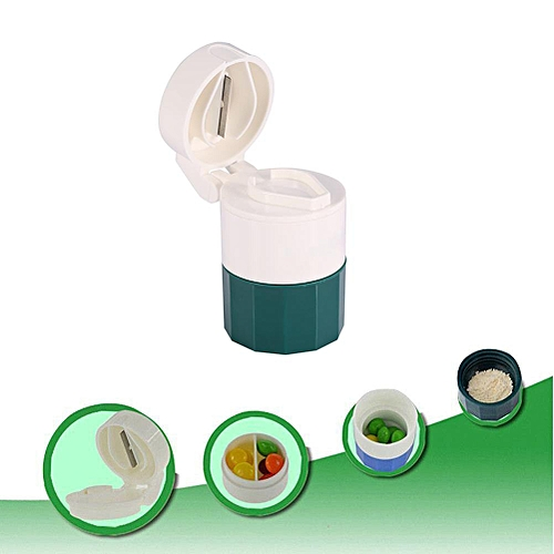 New Portable 4 Layers Medicine Cutter Pill Powder Storage Splitter Box Case Organizer
