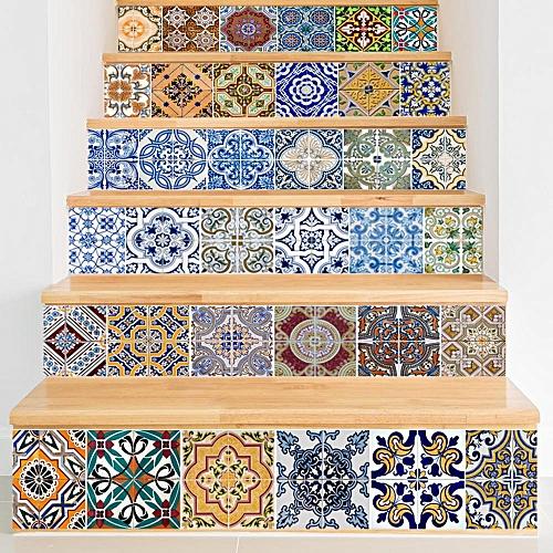 Miico 6Pcs/set Creative Mosaic Pattern Stair Sticker Home Decor Mural Art Removable Wall Decals