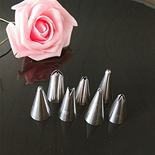 Lightning 7pc 304 Steel Cake Icing Piping Decorating Nozzles Tips Baking Tool-Silver