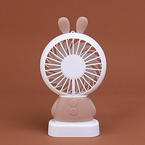 Home Office Handheld Rabbit Fan USB Charging With Desk Base For Student Coffee Color