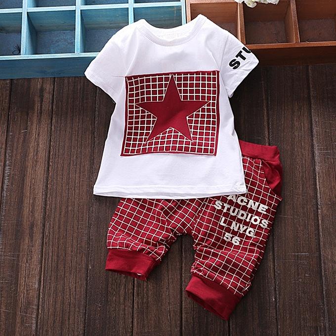 ec0e2996b9a1 Generic Hot Sale Baby Boy Clothes Summer Sets T-shirt+pants- Red ...