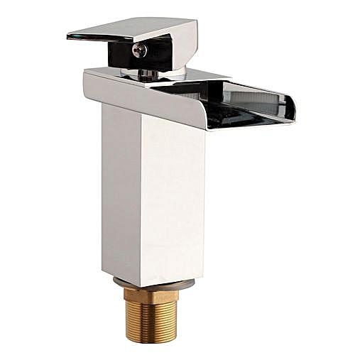 Waterfall Basin Sink Tap Square Mixer Chrome Mono Bloc Luxury Bathroom Cloakroom Silver